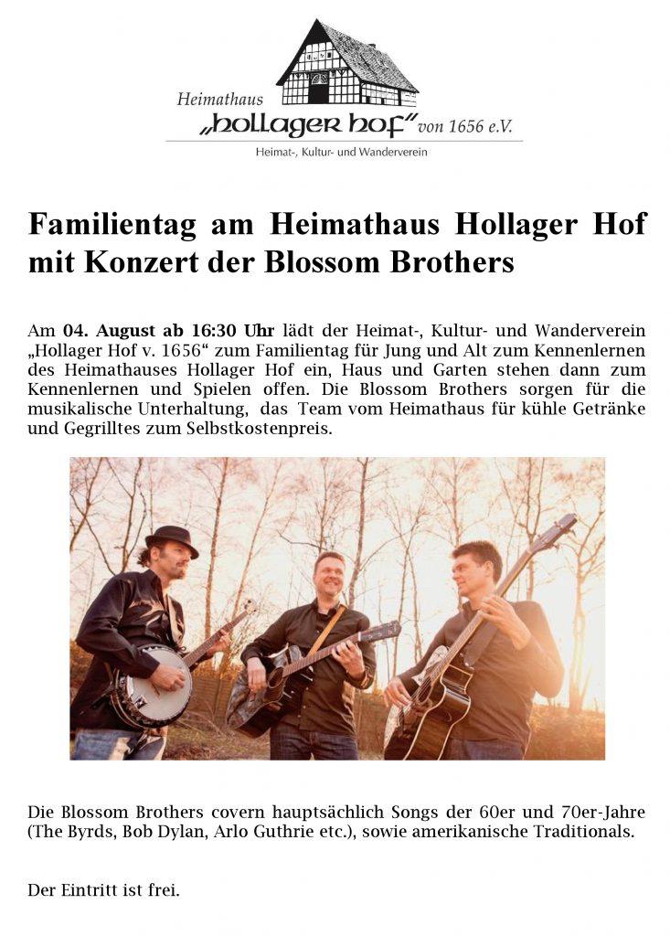 Familientag am Heimathaus Hollager Hof mit Konzert der Blossom Brothers